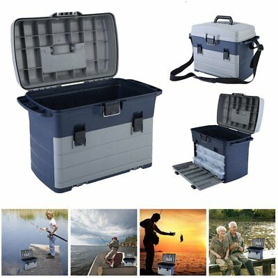 HEAVY DUTY FISHING TACKLE/TOOL BOX Incl 3 removable Trays Shoulder Strap AM