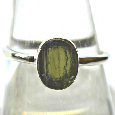 Small Natural Czech Moldavite Sterling Silver Ring Holy Grail Tektite Size N~7
