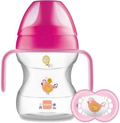 MAM Learn to Drink Cup and Soother For 6 Months baby -190 ml In Pink color