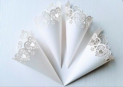 Laser Cut Heart Wedding Confetti Cones - White, Ivory, Craft Card | Pack of 10
