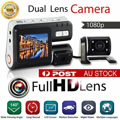 G-sensor True HD 1080P H.264 Dual Camera Car Recorder Dash DVR Video Crash Cam -