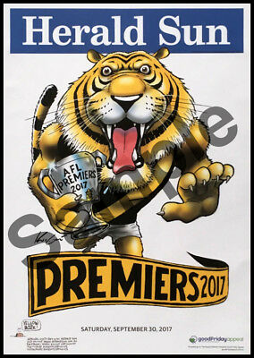 Herald Sun Richmond Afl Premiers 2017 Mark Knight Poster Block Mount