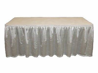 "29"" X 14' Poly Sateen Silver White Table Skirt Event Wedding Trade Show"