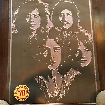 Vintage 1969 Led Zeppelin Poster With Powder Ridge Festival Sticker 3 X 2 Feet