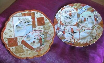 Antique Japanese imari plates, with family scene hand-painted,.