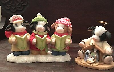 Two Christmas Mary's Moo Moos Figurines by Enesco