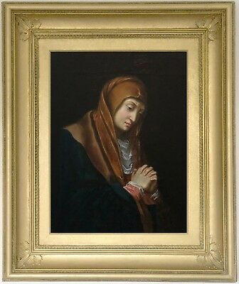 Madonna in Sorrow Antique Old Master Oil Painting 18th Century Spanish School