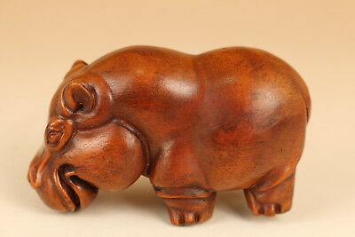 Lovely Boxwood hand carved hippo statue netsuke figure hand piece decoration