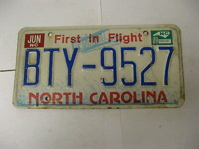 1988 88 North Carolina NC License Plate BTY-9527 Airplane Natural Sticker