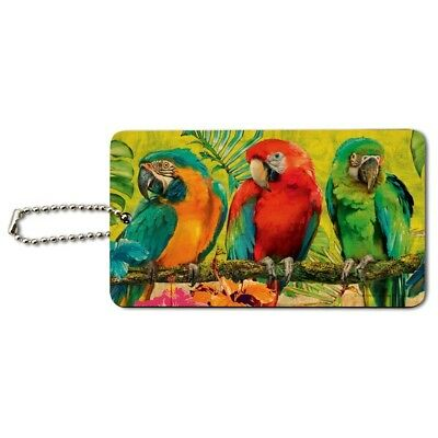 Colorful Tropical Rainforest Parrots Wood Luggage Card Suitcase Carry-On ID Tag