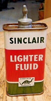 Vintage Original Sinclair Lighter Fluid 4 Oz Can Lead Top Gas Station Oil