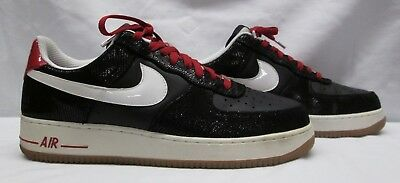 ab681de9d367 Nike Air Force 1 Low Premium Black Leather White Red Bred S 13 318775-013