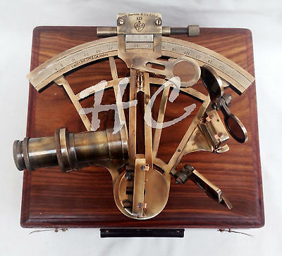 Nautical Collectible Working Sextant W/ Wooden Box Marine Antique Brass Sextant