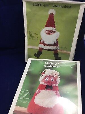 2 Vintage Latch Hook Kit Santa Mrs Claus Latch-ery June Craft Cooper Christmas