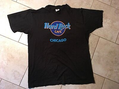 Vtg 90s HARD ROCK CAFE CHICAGO Thin single stitch USA Distressed T Shirt XL