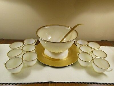 Vintage FireKing Punch/Eggnog Bowl Set