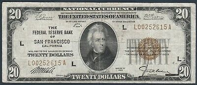 1929 $20 Federal Reserve Bank of San Francisco Note *Free S/H After 1st Item
