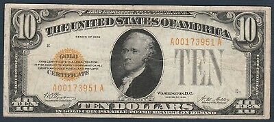 1928 $10 Small Gold Certificate *Free S/H After 1st Item*