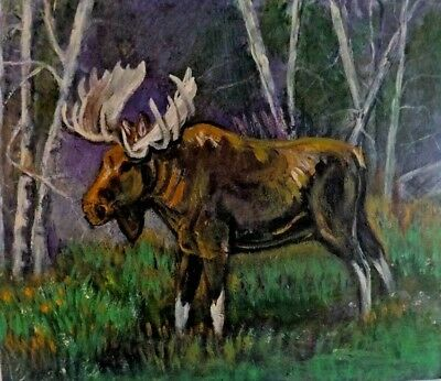 B HIGGINS Painting MOOSE Forest Woods Tree 20 X 16