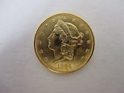 U.S. $20 Gold Liberty Head Double Eagle Coin 1904 Uncirculated Beautiful Coin