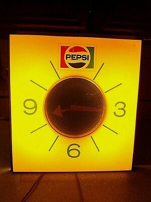 """Vintage Pepsi Lighted Electric Clock 15"""" W 16"""" L Sheet Metal Workers Union"""