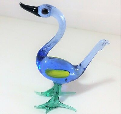 Vintage Miniature Hand Blown Blue Glass Lampwork Swan Duck Bird Figurine 1118m