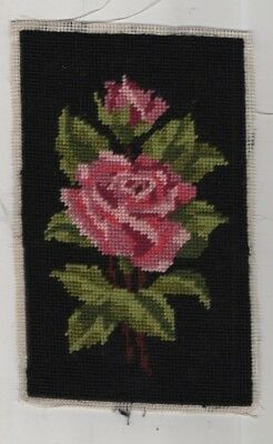 """Rose ,vintage Needlepoint Piece, Embroidery 8 1/2"""" X 5 1/2"""""""