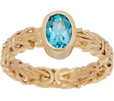 Natural Blue Topaz Gemstone Byzantine Band Ring Real 14K Yellow Gold QVC