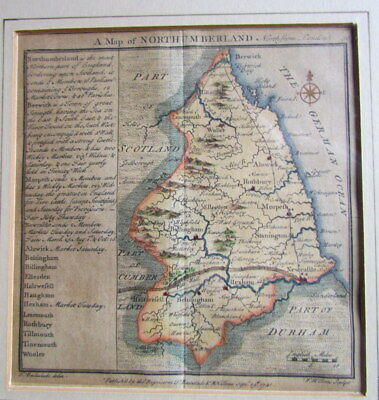 1741 Map Of Northumberland By T Badeslade / W H Toms In London Hand Coloured