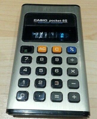 Kult Retro Casio pocket 8s Digital Taschen Rechner Electro Calculator Vintage