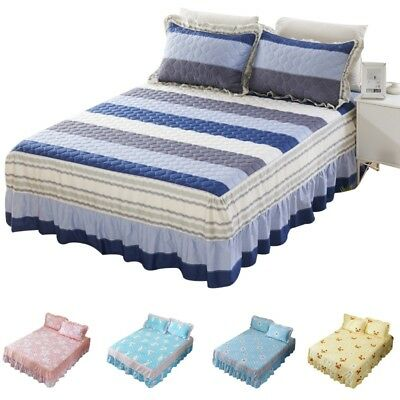 Bed Sheet Printed Dust Ruffle Cotton Fitted Sheet Stretchy Bedspread Bed Skirt