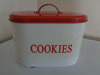 Vintage White/red Metal Cookie Canister ~~ Very Good Condition