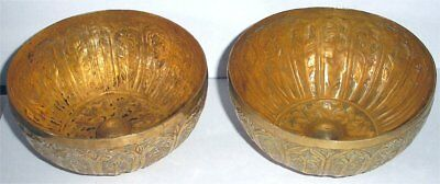 Pair of Gilded Brass Eastern Islamic Repouse Medicine Bowls for Further Research