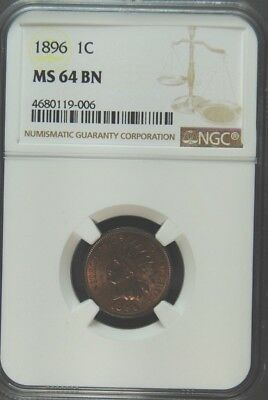 1896 Indian Cent Ngc  Ms-64 Brown