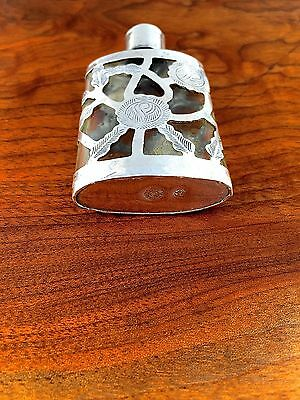 Mexican Sterling Silver Overlay Perfume Bottle: Signed AM Mexico City No Mono