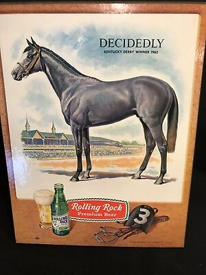 Rolling Rock Beer Sign Decidedly Gray Horse Kentucky Derby Winner 1962 Vintage