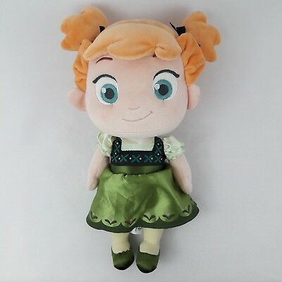 """Young Anna Frozen The Disney Store Plush Princess Toddler Baby Doll Toy 12"""""""