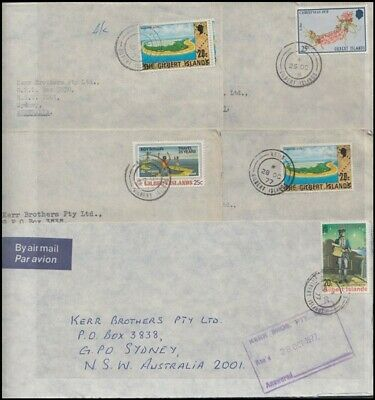 GILBERT ISLANDS 1977-8 GROUP COMMERCIAL AIRMAIL COVERS (x5) (ID:153/D54488)