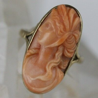 Antique 10k Gold High Relief Carved Natural Salmon Pink Italian Coral Cameo Ring