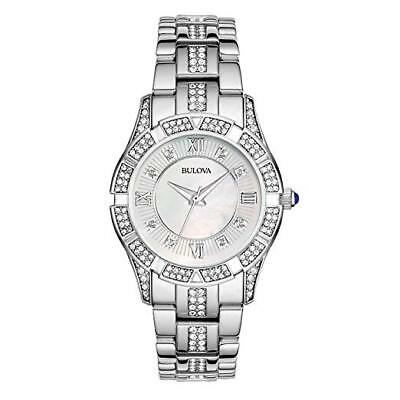 Bulova Mother of Pearl Dial Crystal Accented SS Quartz Women's Watch 96L116