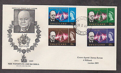 Swaziland - 1966 1st day Churchill cacheted cover mailed to England
