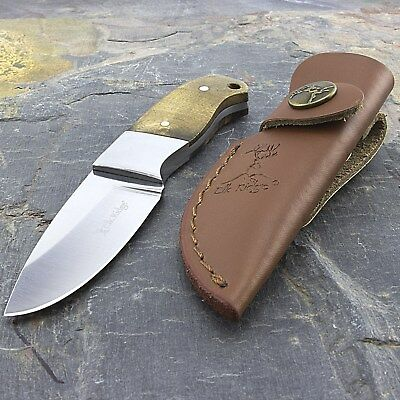 "5"" ELK RIDGE FIXED BLADE SKINNING KNIFE WOOD HANDLE w/ LEATHER SHEATH Skinner"