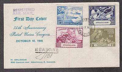 Swaziland - 1949 1st day cacheted UPU registered cover mailed to Canada