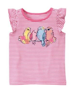 New Gymboree Pink Striped Sugar Reef Short Sleeved Top 2T Birds Parrots NWT