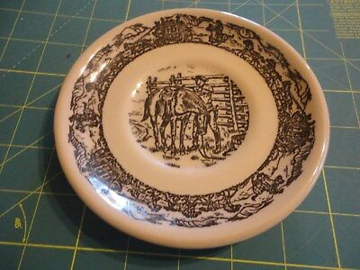 Tepco China Western Traveler Plate Cowboy Horse Ranch Stagecoach Vintage 1950's