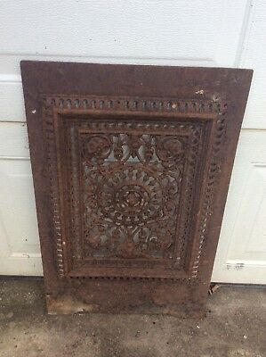 Antique Barn Find Architectural Cast Iron Ornate Panel Fireplace Cover?