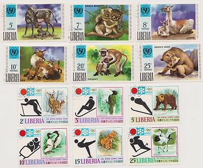 12 different older used stamps from Liberia dated 1971 - Animals & Olympics