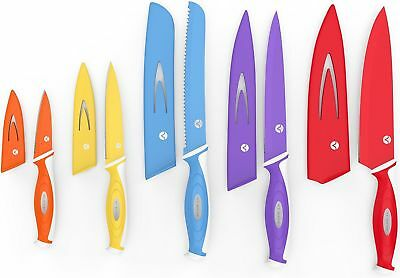 Vremi 10 Piece Colorful Kitchen Knife Set Sheath Covers Matching Color Case
