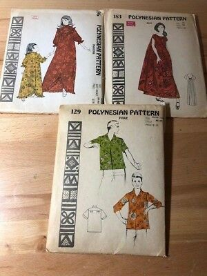 POLYNESIAN PATTERN Lot of 3 Sewing Patterns Vintage