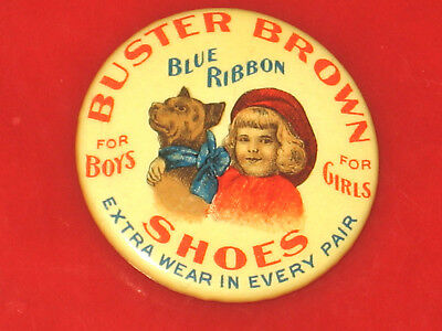 Vintage 1900'S Buster Brown Blue Ribbon Shoes Clicker Pin, Pinback Button Badge